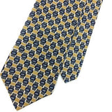CARL MICHAELS USA Made TIE BLUE Gray GOLD GEOMETRIC Silk Necktie Ties I7-734 New