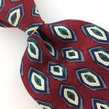 FERRELL REED USA TIE GEOMETRIC MAROON GRAY Silk Necktie Excellent Ties I7-638