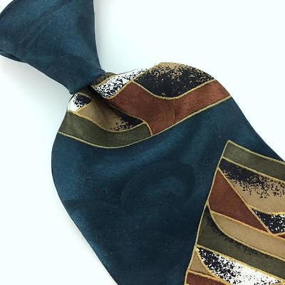 CHEZ ROFFE USA TIE GEOMETRIC Green Rust/Gold BROWN Silk Necktie Ties I7-555