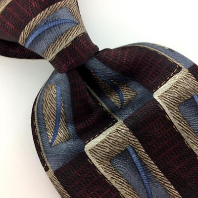 "XL 66"" LOUIS ROTH TIE GRAY MAROON Brown Blue GEOMETRIC Silk Necktie Ties I8-424"
