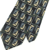 FACETS BEIGE Olive/Green Blk GEOMETRIC SQUARE Silk Mens Neck Tie H2-50 Excellent