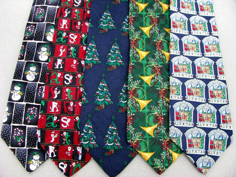 3 Xmas Christmas Santa Snowman Holiday Ornament  Silk Neck Tie Neckties Lot #WE