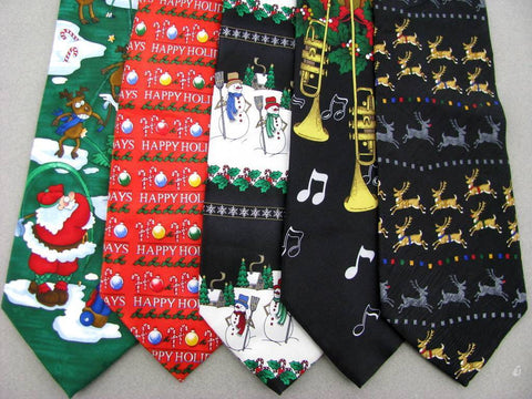 5 Xmas Christmas Santa Claus Snow Reindeer Gifts Neck Ties Necktie Lot #LP