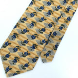 DON LOPER US MADE FLORAL GOLD BLUE Gray Silk Men Necktie I1-463 Excellent Ties