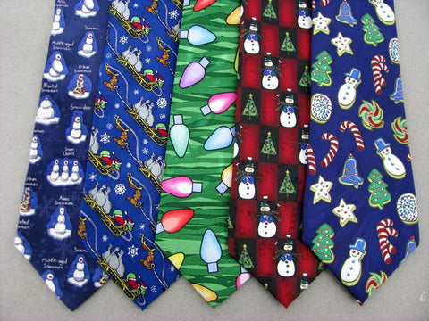 3 Xmas Christmas Santa Snowman Holiday Sleigh Mens Silk Neck Tie Necktie Lot #KP