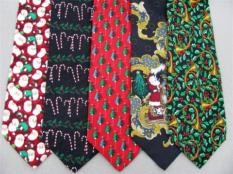 5 Xmas Christmas Santa Snow Tree Holiday Gift Mens Silk Neck Tie Necktie Lot