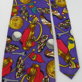 Papell Art Deco Golf Flag Purple Gold Red Grey Silk Necktie Tie Z2-147
