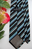 George Stripe Textured Woven Black Sky/Blue White Necktie Tie Z2-163 New