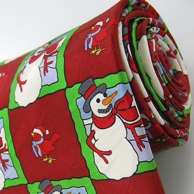 KEITH DANIELS Christmas Snow Man Holiday BIRD RED WHITE Necktie Tie X6-90 NEW