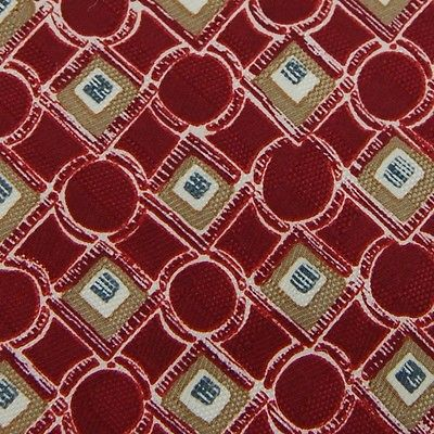 Manhattan Red Tan Beige Circle Square Link Tie Necktie #Z1-420 New