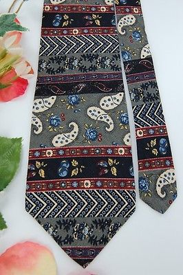 ADOLFO GRAY NavyBlue RED PAISLEY STRIPE Men Neck Tie #Z1-312 ties