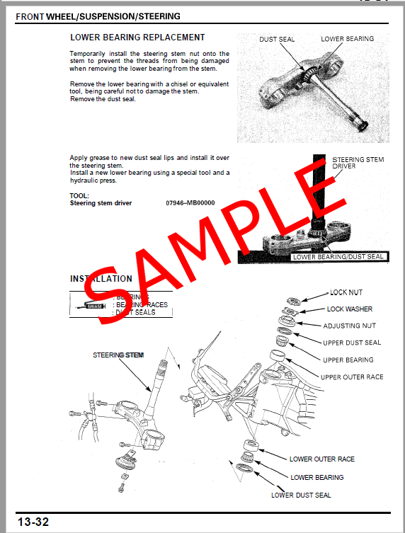 Honda Motorcycle Repair & Service Manual