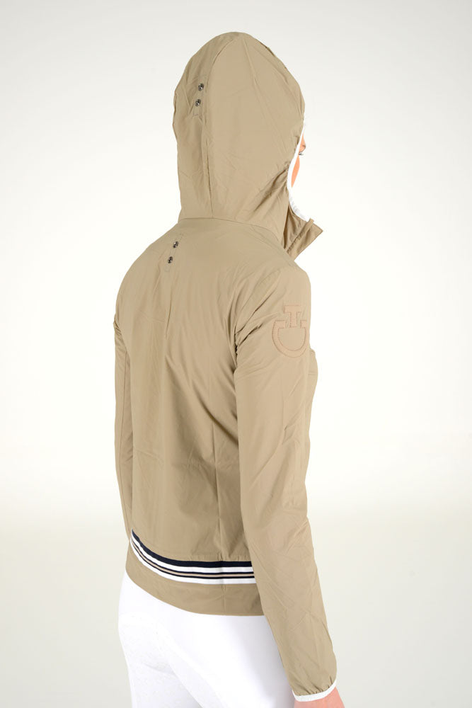 Cavalleria Toscana - Nylon Hooded Jacket with Rib Knit Insert - Beige