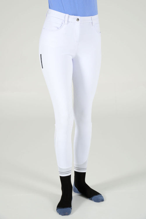 Cavalleria Toscana - CT Full Grip Breeches w/ Perforated Logo Tape - White