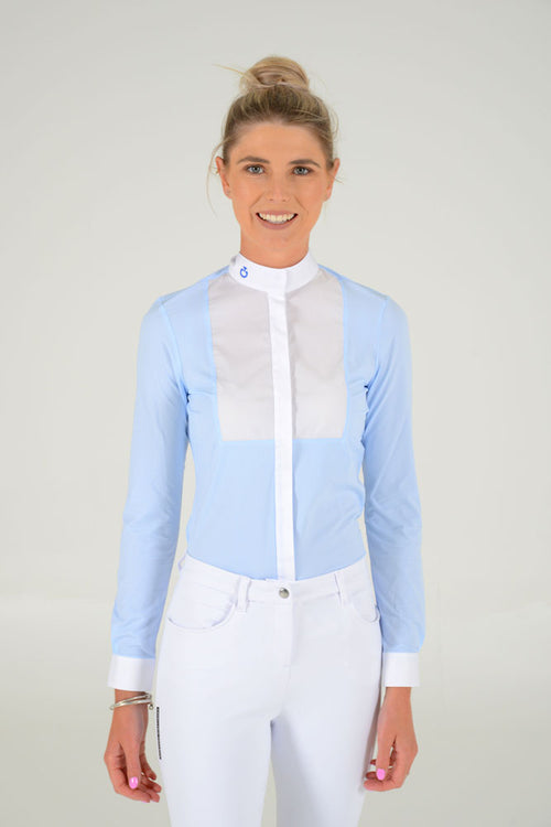 Cavalleria Toscana - Embossed Competition Shirt With Bib L/S - Baby Blue Stripe