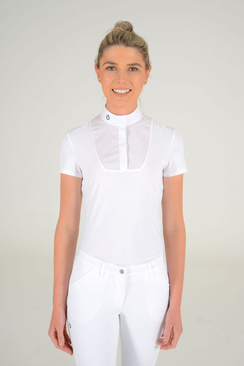 Cavalleria Toscana - S/S Shirt with Bib and Knit Jacquard Back - White