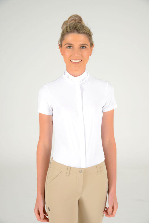 Cavalleria Toscana - Jersey S/S Shirt with Ruffled Collar - White