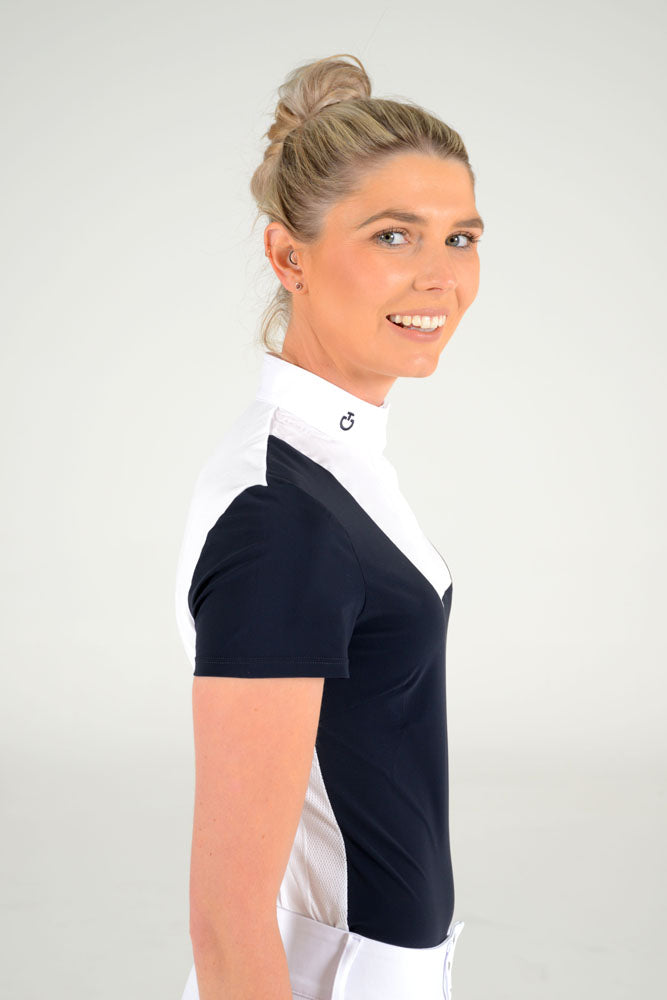 Cavalleria Toscana - S/S Shirt with Bib and Knit Jacquard Back - Navy