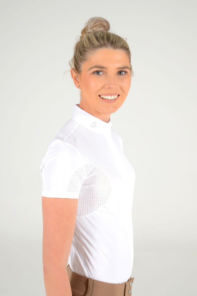 Cavalleria Toscana - Jersey S/S Shirt with Perforated Inserts - White