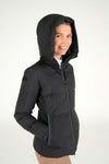 Down Padded Jacket with Hood - Black