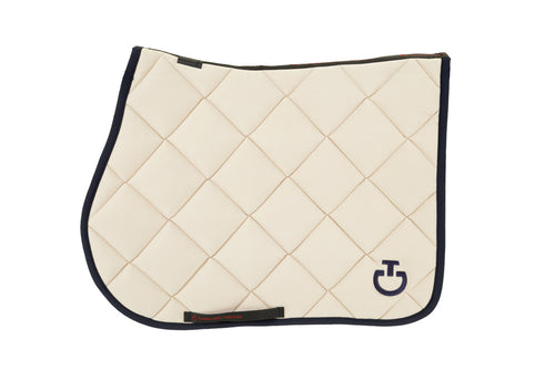 Cavalleria Toscana - Jersey Quilted Rhombi Jumping Saddle Pad - Beige/Navy