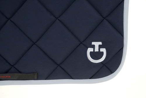 Cavalleria Toscana - Jersey Quilted Rhombi Jumping Saddle Pad - Navy/Grey