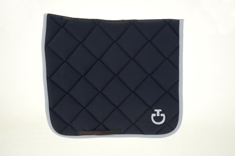 Cavalleria Toscana - Jersey Quilted Rhombi Dressage Saddle Pad - Navy/Grey