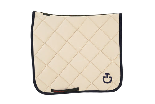 Cavalleria Toscana - Jersey Quilted Rhombi Dressage Saddle Pad - Beige/Navy