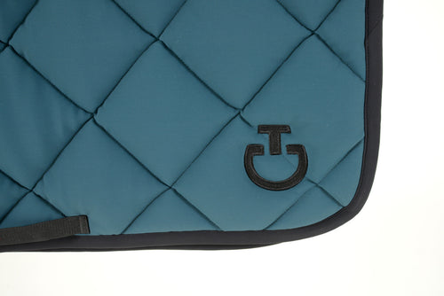 Cavalleria Toscana - Jersey Quilted Rhombi Jumping Saddle Pad - Marine Green/Black