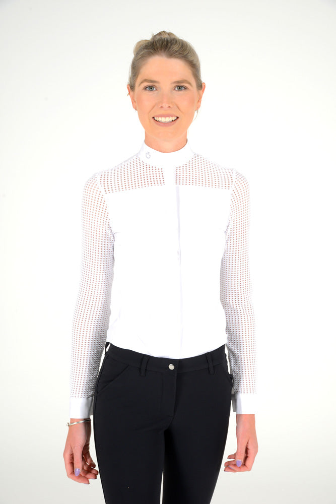 Cavalleria Toscana - Transparent Grid L/S Jersey Competition Shirt - White