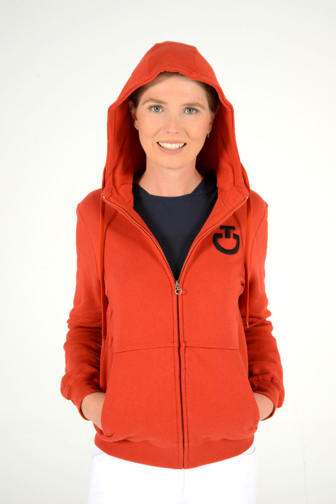 Cavalleria Toscana - Embossed Embroidery Logo Hooded Zip Sweatshirt - Burnt Orange