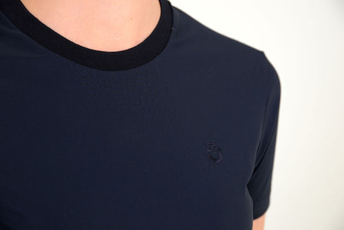 Cavalleria Toscana - Perforated Jersey T-Shirt with Side Zip Pocket