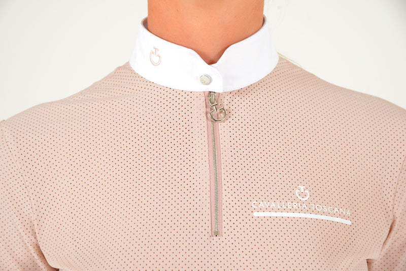 Cavalleria Toscana - CT Fully Perforated Jersey S/S Zip Polo - Pink