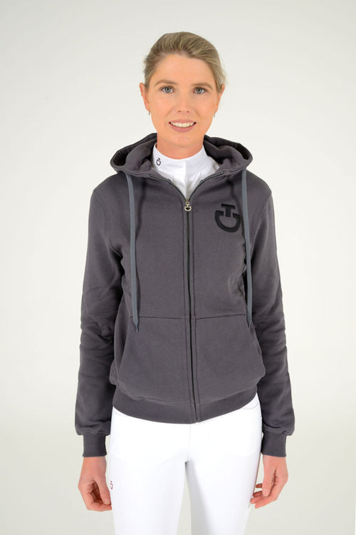 Cavalleria Toscana - Embossed Embroidery Logo Hooded Zip Sweatshirt - Smokey Grey