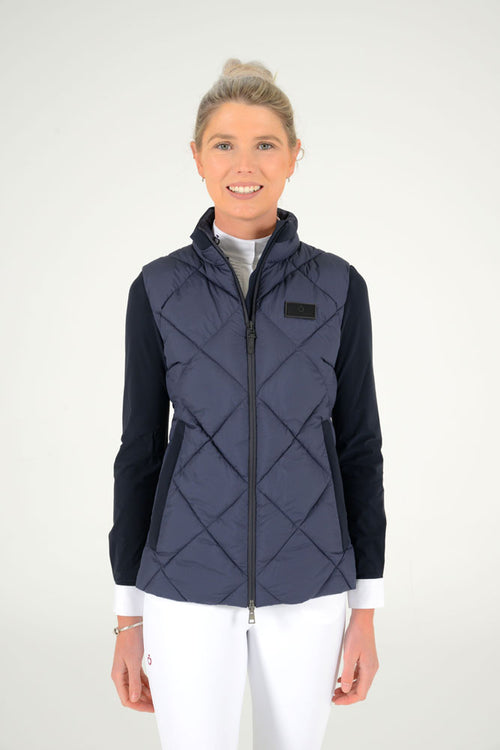 Cavalleria Toscana - Nylon Hooded Vest with Fleece - Navy