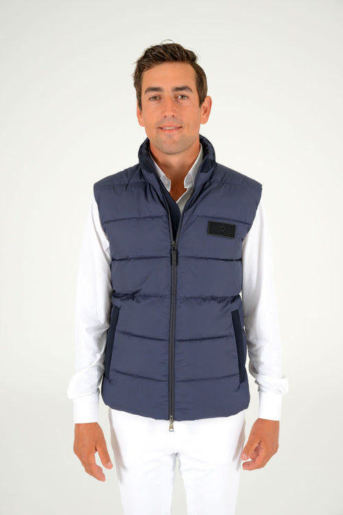Cavalleria Toscana - Nylon Hooded Vest with Fleece - Steel Grey