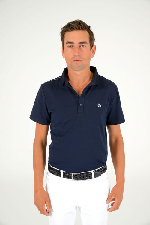 Cavalleria Toscana - Tech Piquet Training Polo with Laser Cut Logo - Navy