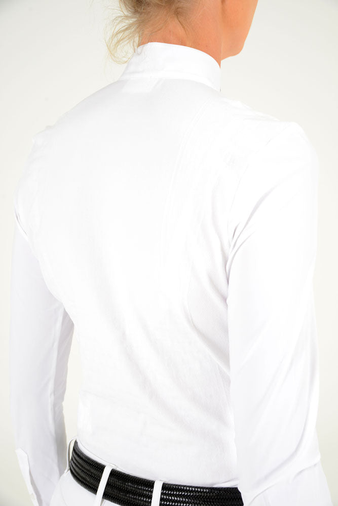 Cavalleria Toscana - Laser Perforated Tech Knit L/S Competition Polo - White