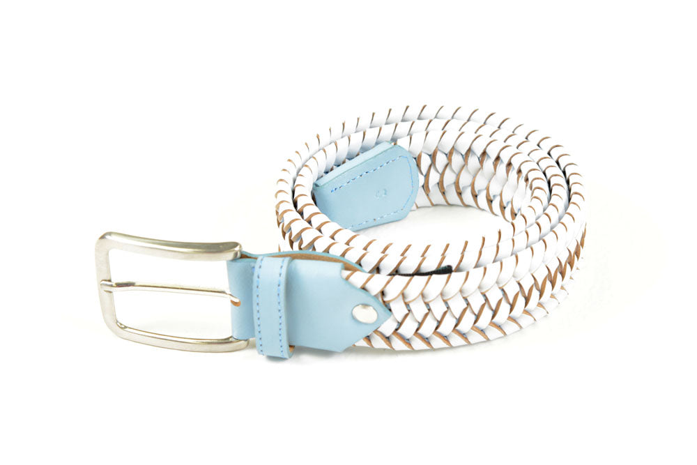 Cavalleria Toscana - Elastic Leather Belt w/Contrast - White/Baby Blue
