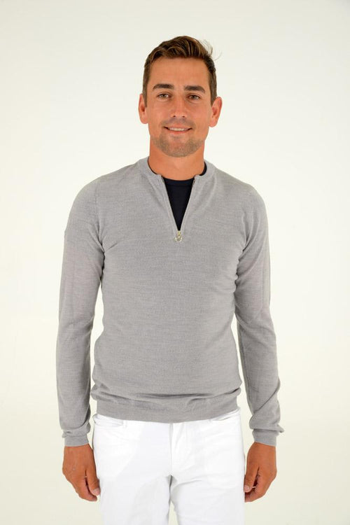 Cavalleria Toscana Jacquard CT Half Zip Sweater - Grey
