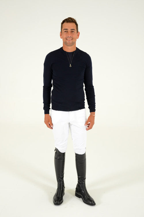 Jacquard CT Mens Half Zip Sweater - Navy