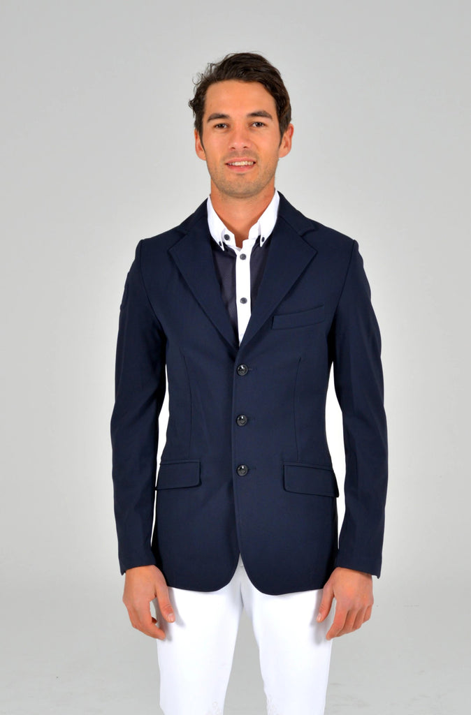 Knit Collar Riding Jacket - Navy