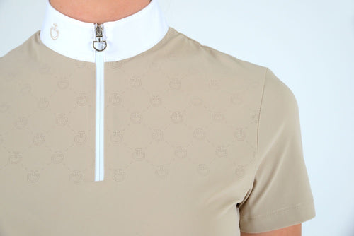 Cavalleria Toscana - CT Laser Perforated Zip S/S Competition Polo - Be…