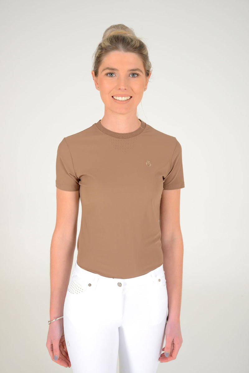 Perforated Jersey T-Shirt with Side Zip Pocket - Light Brown sz M