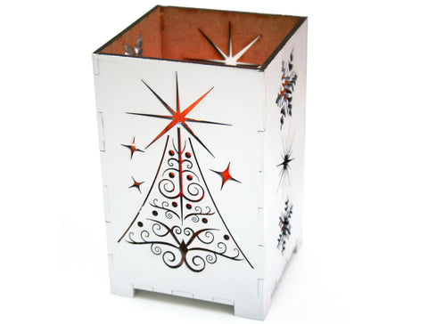Christmas Tree Candle Holder.Laser Cut White Christmas Tree Candle Holder Shadowbox With Snowflakes