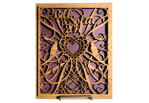 intricate laser cut wood or wedding gift plaque sign hearts birds - Laser Cut Wood