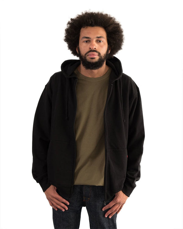 Hoodie Zipped Unisex Black Organic Fairtrade