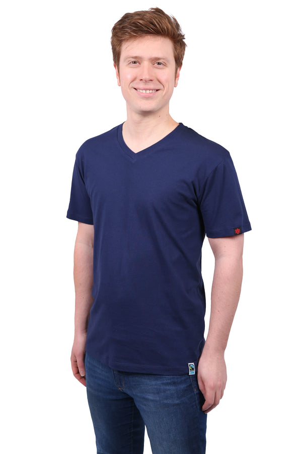 Unisex Navy V-Neck Organic Fairtrade Tee