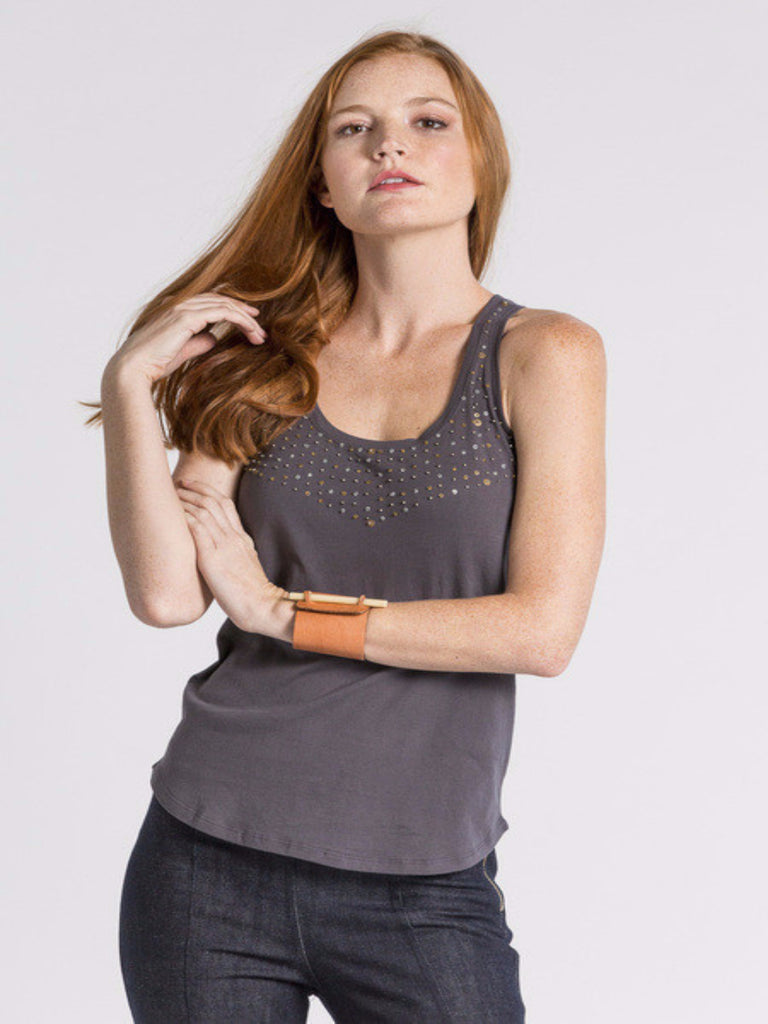Bindi Embellished Tank - Grey
