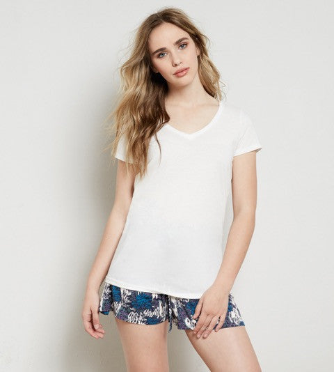 Veronica V-Neck Tee - White